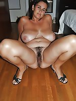 Randy mature girl with hairy vagina